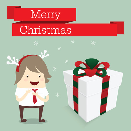 merry christmas businessman happy in work with reindeer hat snowflake get gift box bonus Vector