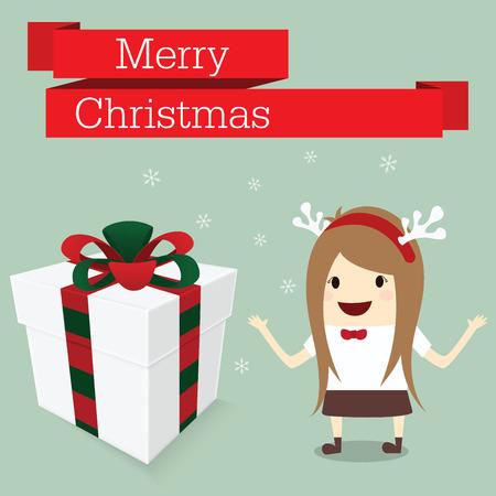 merry christmas businesswoman happy in work with reindeer hat snowflake get gift box bonus Vector