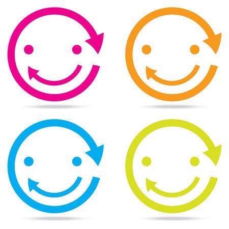 beautiful popular smile happy arrow sign symbol icon set circle internet web design button Illustration