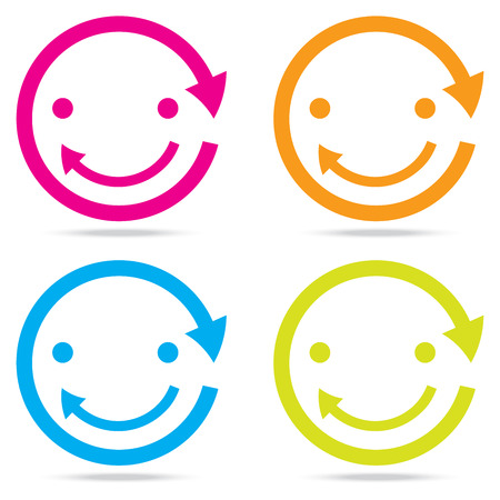 icon collection: beautiful popular smile happy arrow sign symbol icon set circle internet web design button Illustration