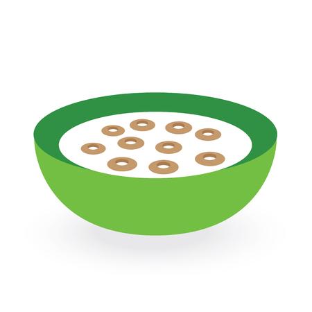 cereals bowl milk isolated on white background Çizim