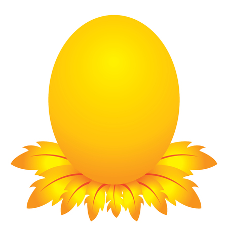 easter day, golden egg cartoon character with feather Vector