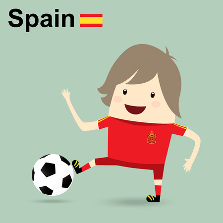 spain national football team, businessman happy is playing soccer relax idea