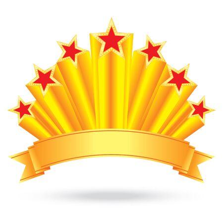rising sun: etiqueta estrellas brillantes de oro del aniversario de lujo con el fondo de la etiqueta de la cinta de rayos sol naciente