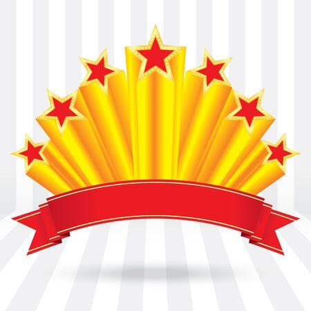 sol naciente: etiqueta estrellas brillantes de oro del aniversario de lujo con el fondo de la etiqueta de la cinta de rayos sol naciente