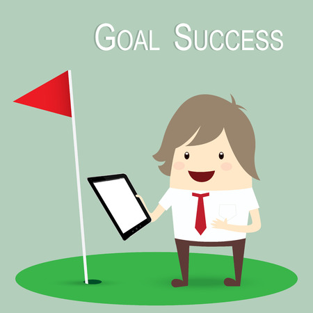success business: businessman is happy strategy marketing goal success, business concept Illustration