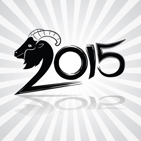 wording: 2015 merry christmas and happy new year, goat calligraphy wording