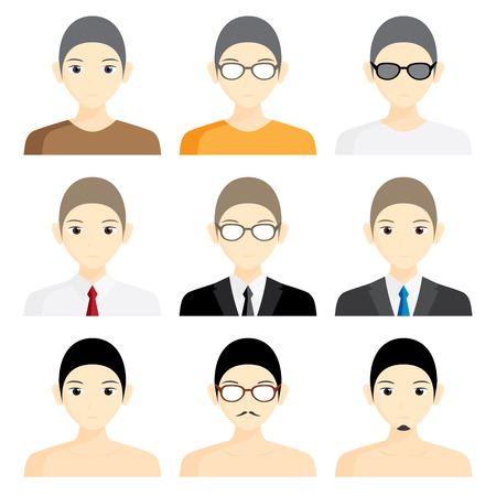 profile picture: set avatar man cartoon picture profile business Illustration