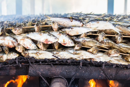 food industry: smoked fish from fishing village food industry at krabi thailand Stock Photo