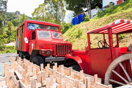 old trucks and landscape view in garden of 7 heaven krabi thailand