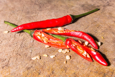 thai chili pepper: red hot bird chili pepper nature background Stock Photo