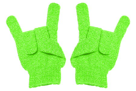 exfoliate: bath gloves texture isolate on white background