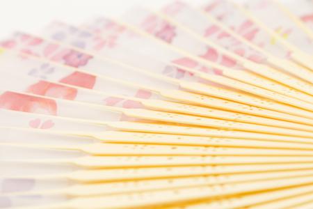japanese fan: traditional japanese fan isolated white background Stock Photo