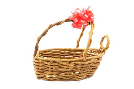 tagged: gift basket with empty space and red ribbon tagged on white background