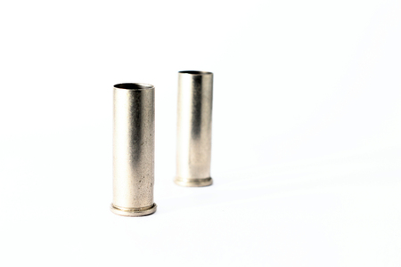.38 special shell casings isolated on white background