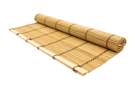 bamboo texture: sushi rolling roller bamboo material mat maker isolated white background