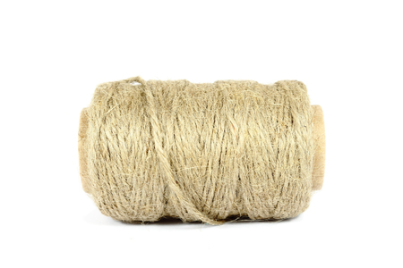 lashing: ramie natural rope isolated on the white background Stock Photo
