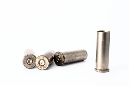 spent: .38 special shell casings isolated on white background