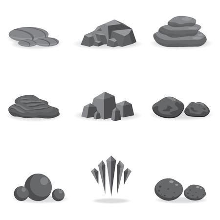 Set Stein, Fels- und Kies Element Dekor für Spielkunst Architektur Design isoliert