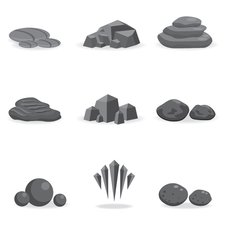 rock: set stone, rock and pebble element decor isolated for game art architecture design