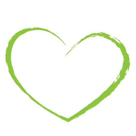 green heart drawing love valentine Ilustracja