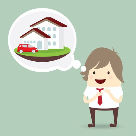 businessman is happy, dream luxury house and car, business concept Illustration