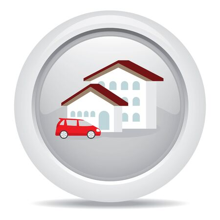 grass plot: symbol  icon dream luxury house and car, business concept