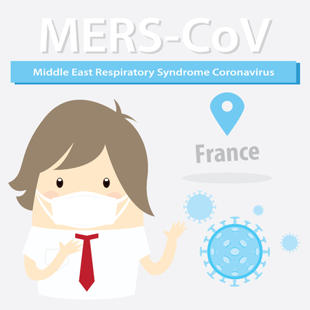 flu prevention: Mers-CoV (Middle East respiratory syndrome coronavirus), businessman with hygiene mask