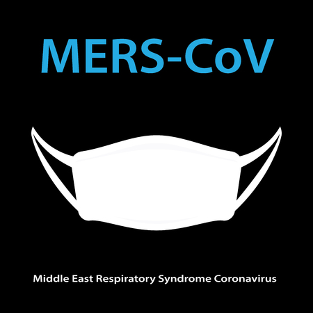 coronavirus: Mers-CoV (Middle East respiratory syndrome coronavirus) with hygiene mask Illustration