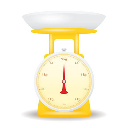 weigh machine: yellow color weight scale market isolate on white background Illustration