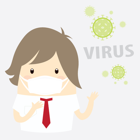 flu vaccination: virus, businessman with hygiene mask
