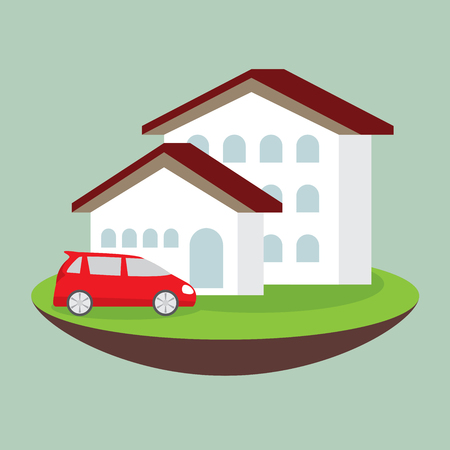 grass plot: icon dream luxury house and car, business concept
