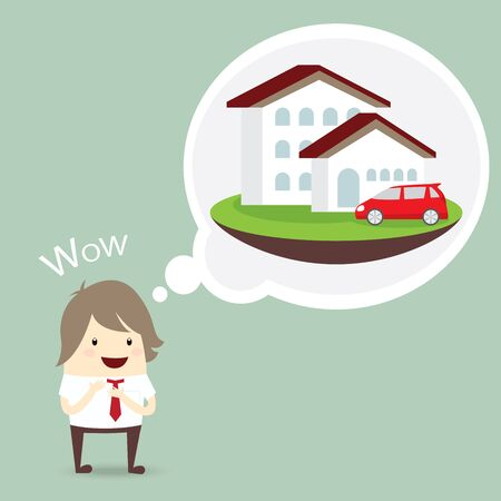 grass plot: businessman is happy, dream luxury house and car, business concept Illustration