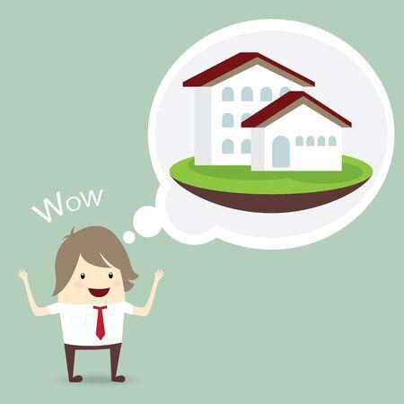 grass plot: businessman is happy, dream luxury house, business concept Illustration
