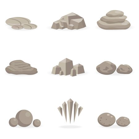 stones: set stone, rock and pebble element decor isolated for game art architecture design