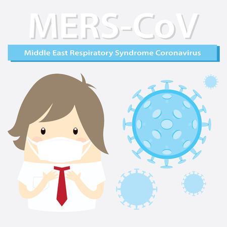 Mers-CoV (Moyen-Orient syndrome respiratoire coronavirus), homme d'affaires avec un masque d'hygiène Banque d'images - 52329514