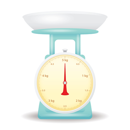 weigh machine: light blue color weight scale market isolate on white background
