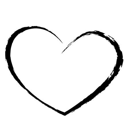 검은 마음 드로잉 사랑 발렌타인 일러스트