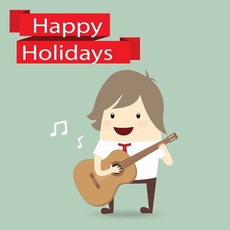 valentine musical note: businessman is playing a guitar, happy holidays Illustration