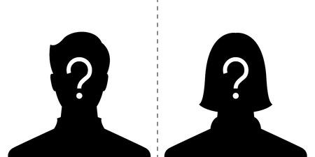 anonymous male and female profile picture emotion, silhouette profile avatar Ilustração