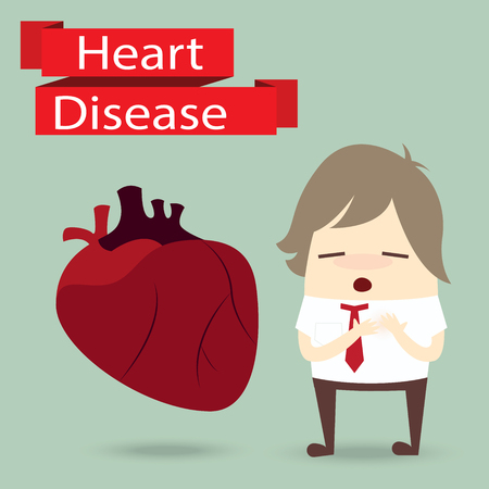 heart disease: businessman health problem with heart disease
