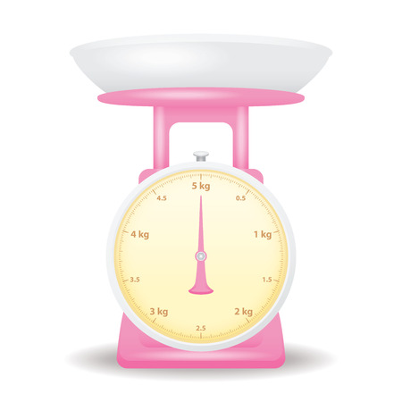 weigh machine: pink color weight scale market isolate on white background Illustration