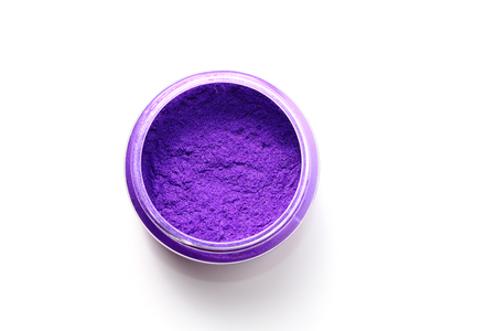pigments: purple mica color pigments isolated on white background