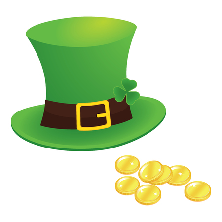 happy saint patricks day 17 march with leprechaun hat, shamrock leaves and gold isolated background