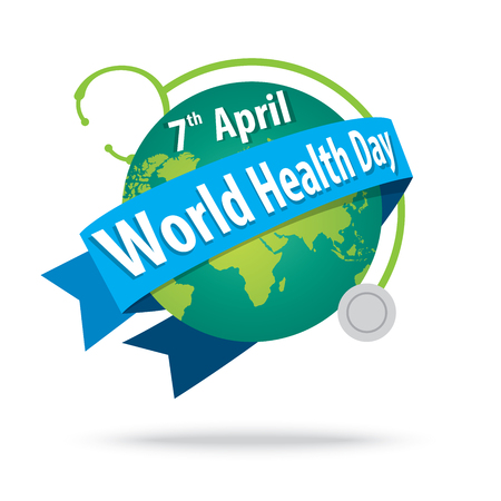 heath: world health day. concept with the earth and stethoscopes