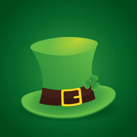 17 march: happy saint patricks day 17 march with leprechaun hat and shamrock leaves background