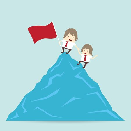 red flag and success businessman is win on top up the mountain help friend, business concept