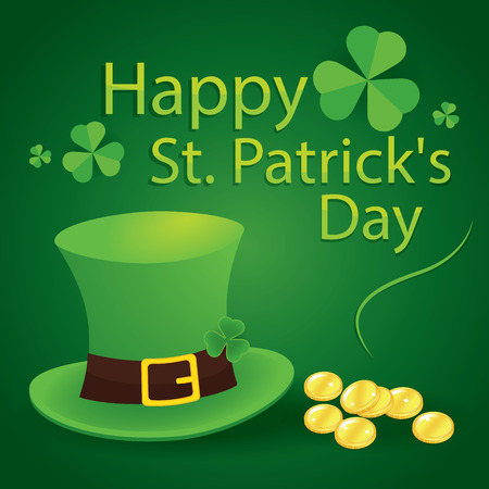 17 march: happy saint patricks day 17 march with leprechaun hat, shamrock leaves and gold background Illustration