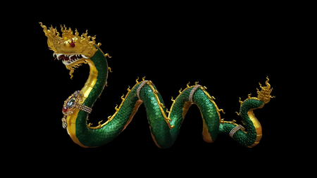 thai buddhism dragon, naka statue with clipping paths isolated on black background