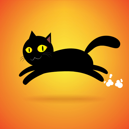 black cat jump isolated background, happy halloween day